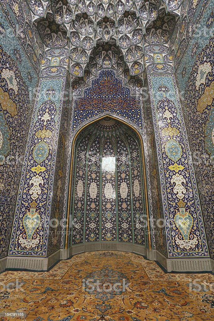 Interior of the Grand Mosque in Muscat stock photo