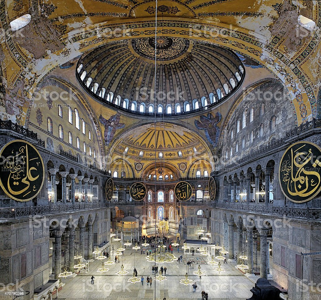 Interior of the Hagia Sophia in Istanbul stock photo
