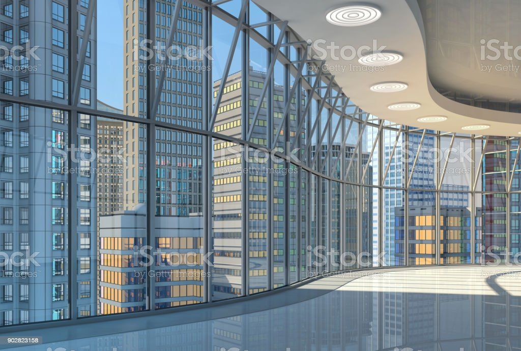 Interior of the hall with curved glazed walls and a view of the skyscrapers royalty-free stock photo