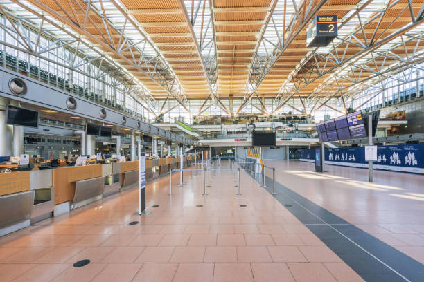 Interior of the Hamburg Airport without passengers