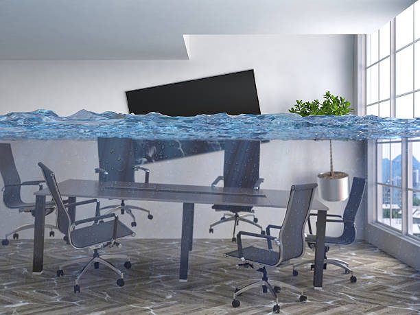 interior of the house flooded with water. 3d illustration - flooded room stock photos and pictures