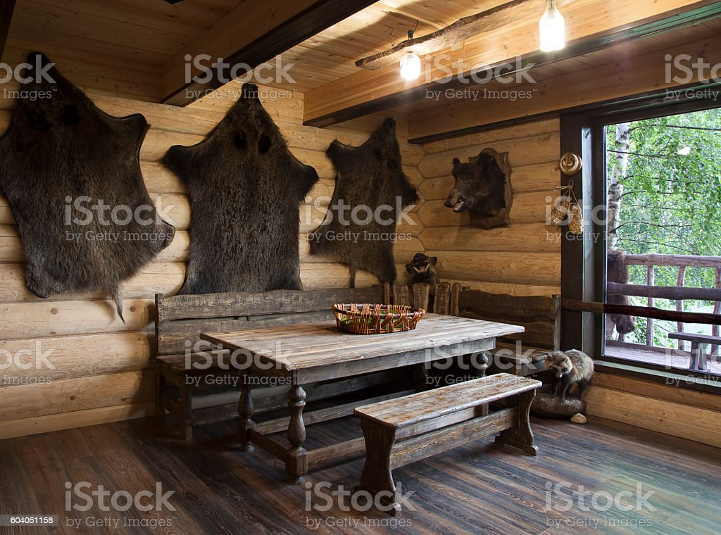 Interior of the hunter's house stock photo