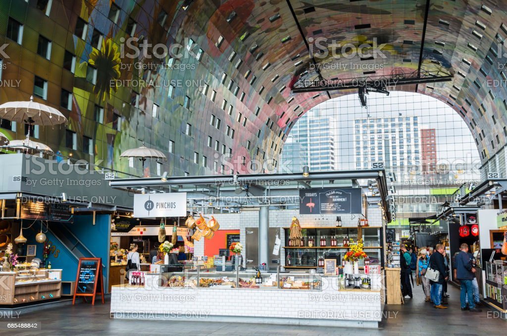 Interior of the Iconic Rotterdam Market Hall stock photo
