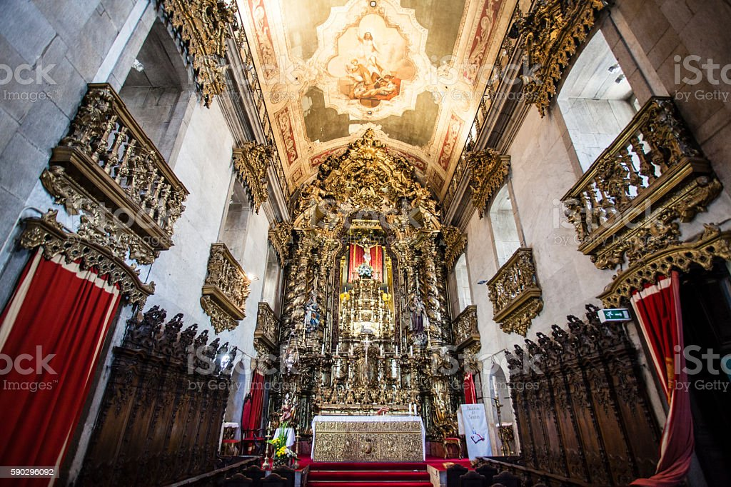Interior of the Igreja do Carmo church in Porto, Portugal Стоковые фото Стоковая фотография
