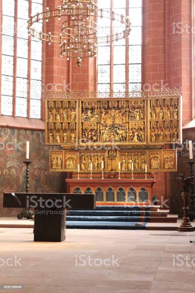 Interior of the Imperial Cathedral of St. Bartholomew in Frankfurt Germany stock photo