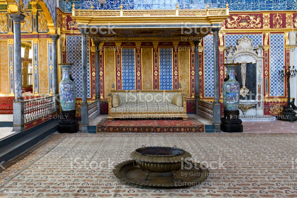 Istanbul, Turkey - May 23, 2015: Interior of the Imperial Room in the Harem section of the Topkapi Palace in Istanbul, Turkey. stock photo