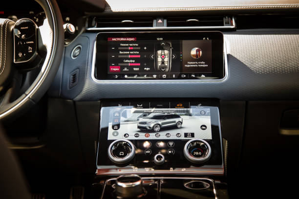 Interior of The Land Rover Range Rover Velar in Black color compact luxury crossover SUV stock photo