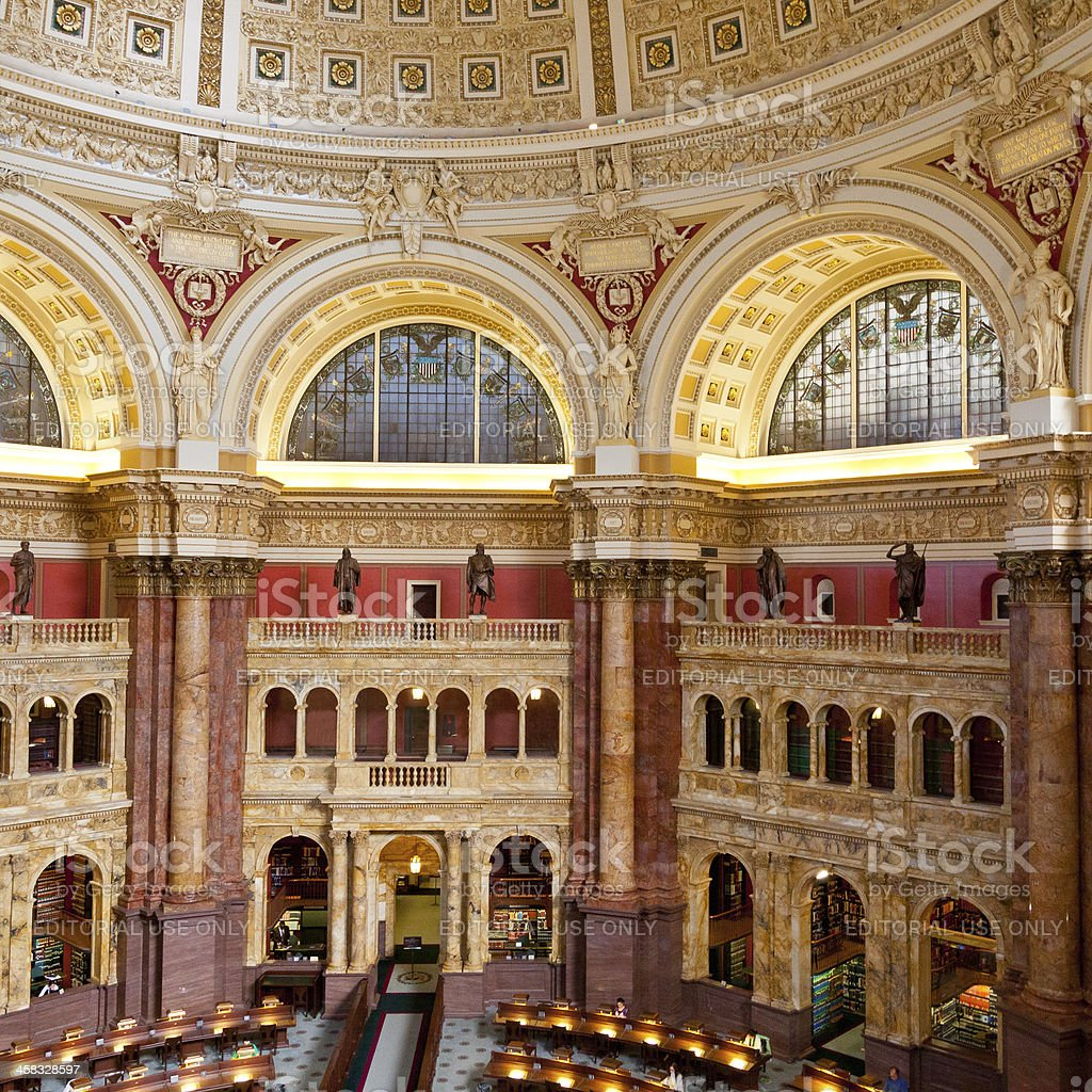 Interior of the Library of Congress, Washington DC. royalty-free stock photo