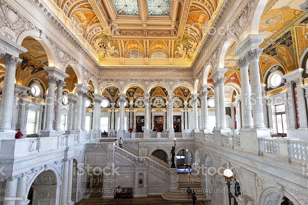 Interior of the Library of Congress, Washington DC stock photo