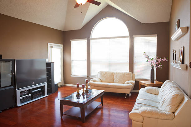 Interior of the living room in a family home stock photo