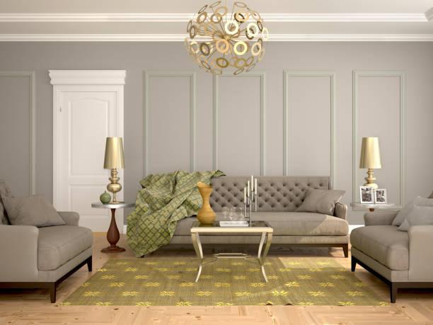 innenraum des wohnzimmers, moderne klassik, - oliven wohnzimmer stock-fotos und bilder