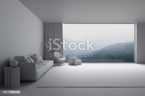 1095381860istockphoto Interior of the living room with view of the misty mountains 1017588098