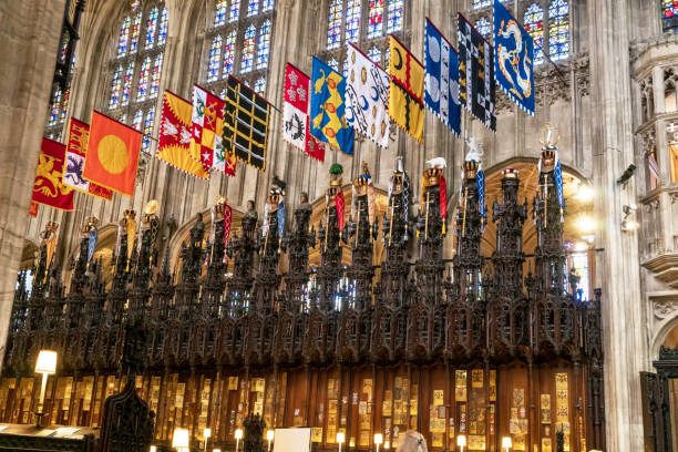 중세 세인트 조지 예배당의 내부 영국 윈저에 있는 왕자 윌리엄과 메 건 마크 르 결혼식의 호스트. - meghan markle 뉴스 사진 이미지