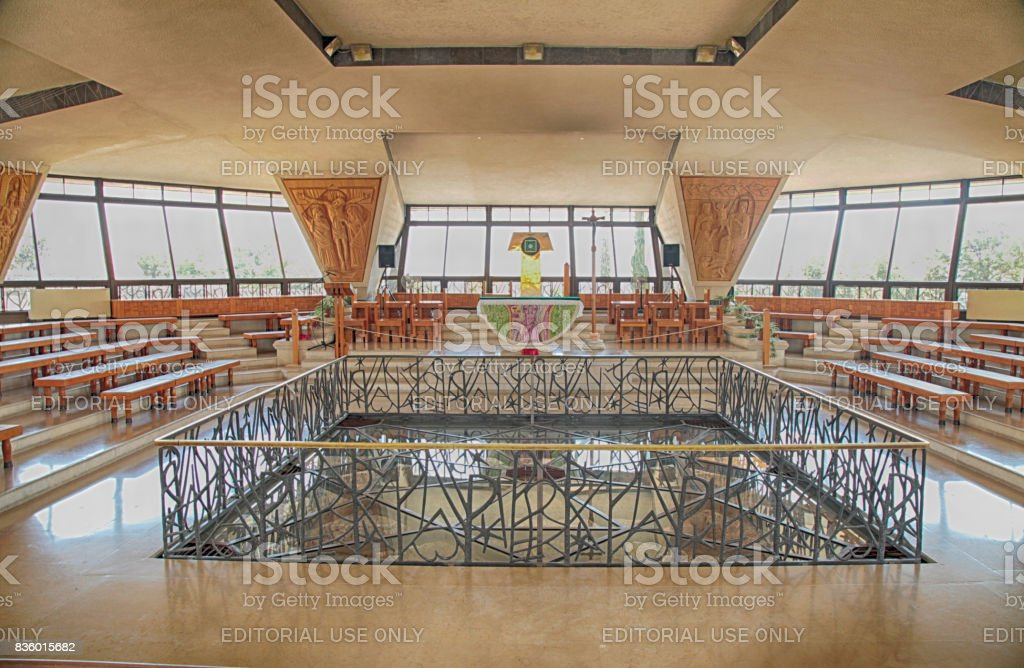 Interior of the modern church in Capernaum, Israel stock photo