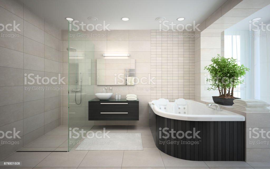 Interieur Des Modernen Schlafzimmer 3drendering Mit Whirlpool ...