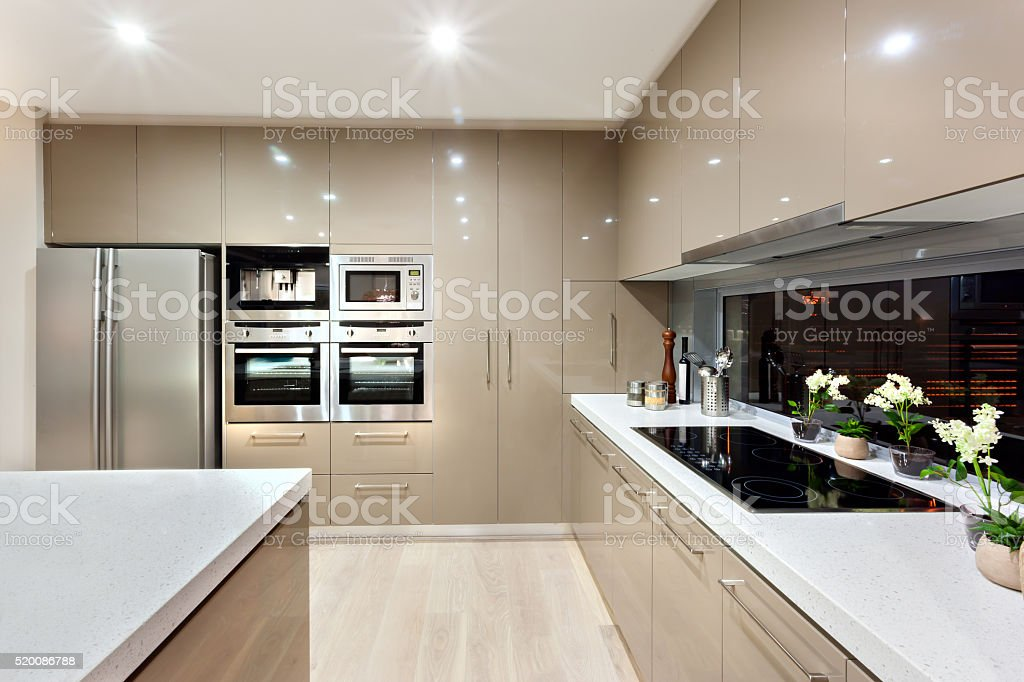 Interior of the modern kitchen in a luxury house stock photo