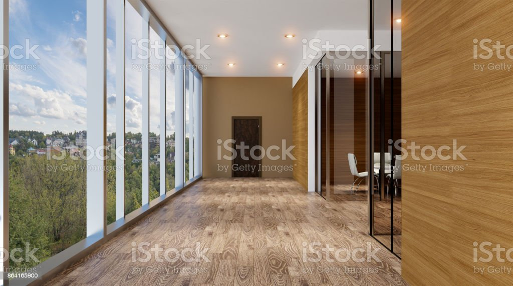 Interior of the modern office in the highlands. 3d rendering. royalty-free stock photo