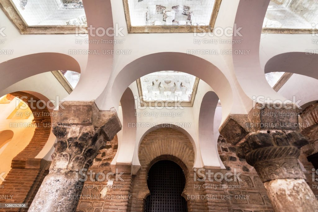 Interior of the Mosque of Cristo de la Luz, Toledo, Castilla la Mancha, Spain.