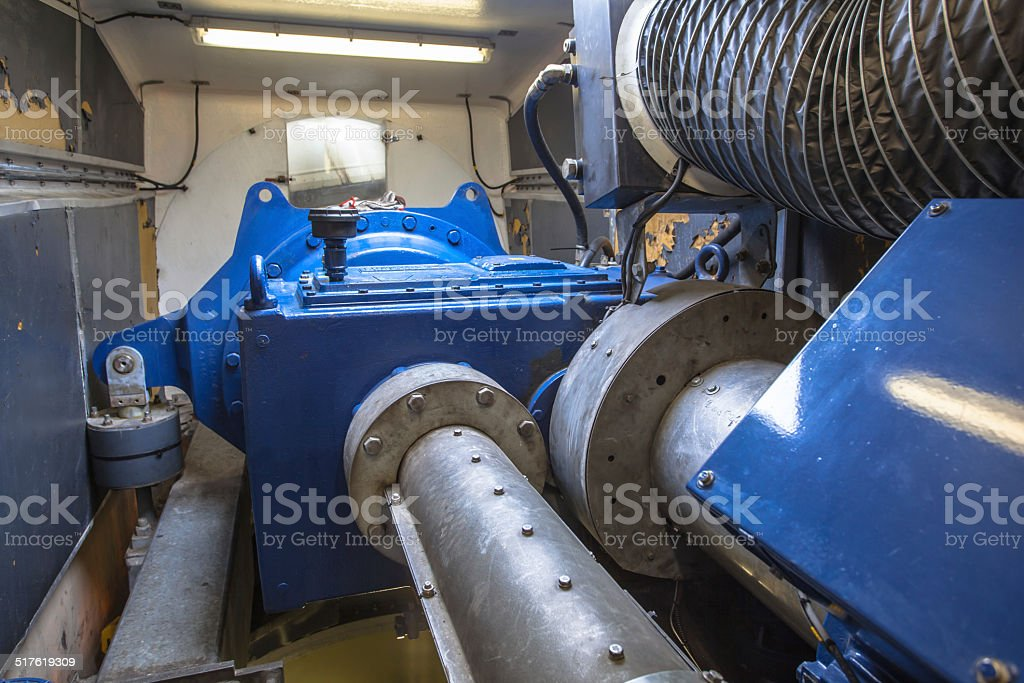 Interior of the Nacelle housing in a Wind Turbine stock photo