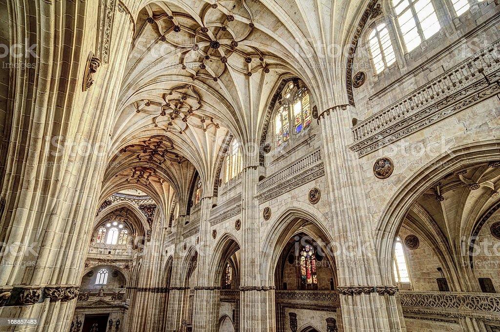 Interior of the New Salamanca Cathedral, Spain stock photo
