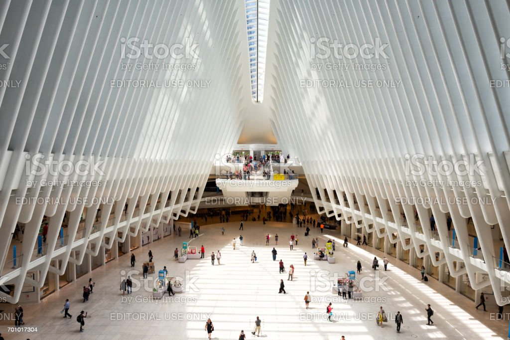 Interior of the Oculus transportation hub stock photo