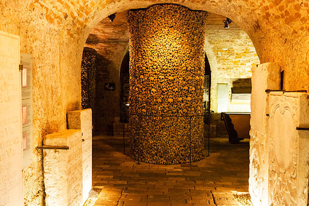 interior of the Ossuary of St James Church, Brno Brno, Czech Republic - September 25, 2015: interior of the Ossuary of St James Church on Jakubske square in Brno. it was a big collection of bones estimated to have belonged to in excess of 50000 people brno stock pictures, royalty-free photos & images
