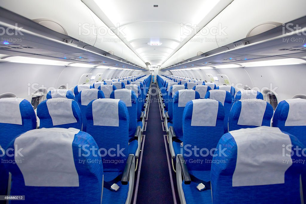 Interior of the passenger airplane stock photo