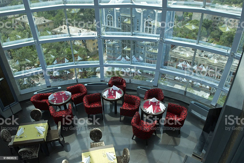 Interior of the restaurant under glass dome royalty-free stock photo