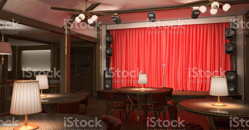 Interieur Des Restaurants Mit Einer Bühne Stock-Fotografie und mehr ...