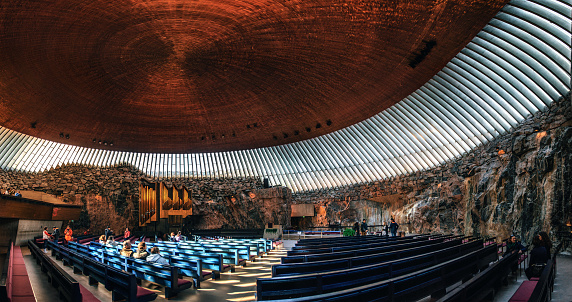 Interior of the Rock Church in Helsinki , Finland.