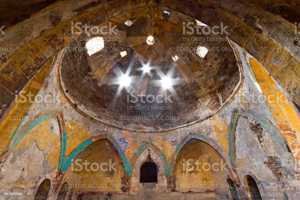 Kars, Turkey - April 5, 2014: Interior of the ruins of an old Turkish Bath in Kars, Turkey. stock photo