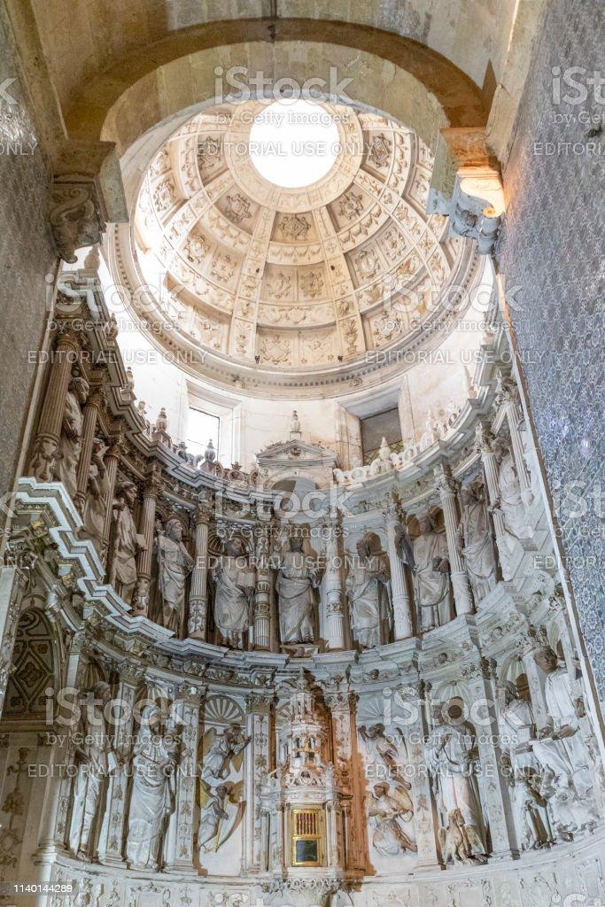 Interior of the Sé Velha de Coimbra Cathedral, Portugal - stock photography - foto stock