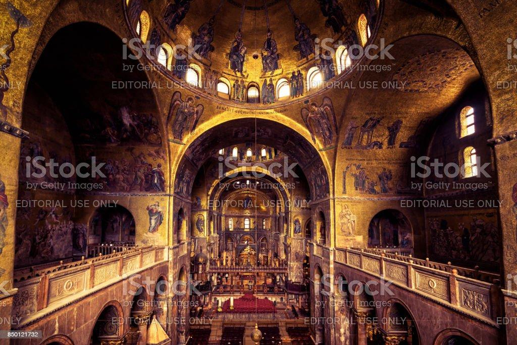 Interior of the Saint Mark`s Basilica in Venice stock photo