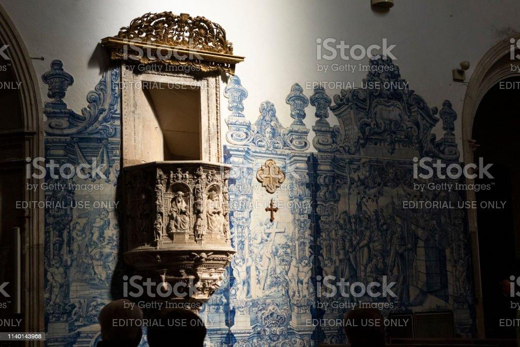 Interior of the Santa Cruz Monastery in Coimbra, Portugal - stock photography - foto stock
