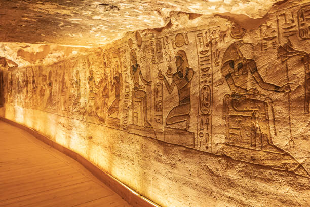 Interior of the Small Temple at Abu Simbel, also known as the Temple of Hathor and Nefertari stock photo