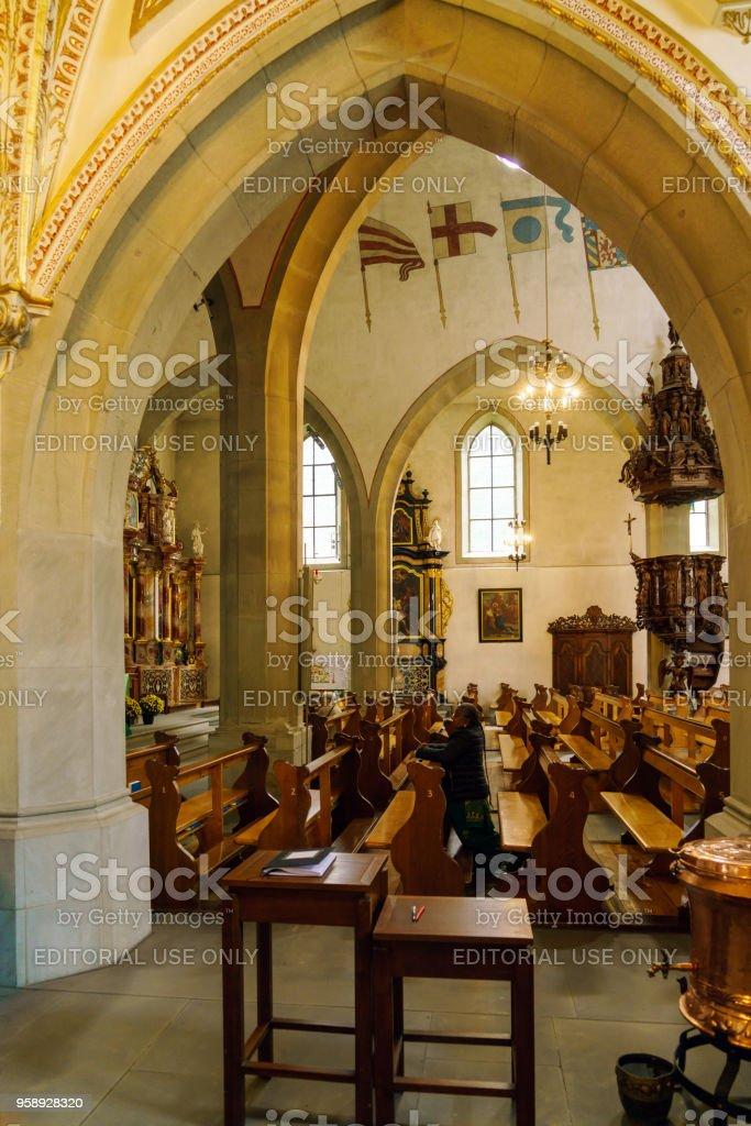 Interior of the St. Leodegar church stock photo