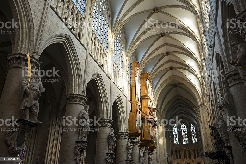 St. Michael and Gudula Cathedral in Brussels stock photo