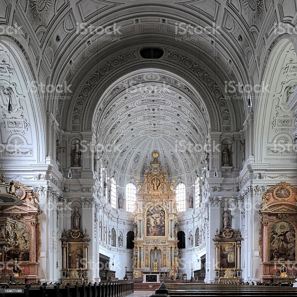 Interior of the St. Michael Church in Munich, Germany stock photo