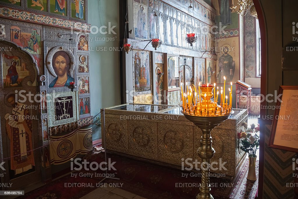 Interior of the St. Sophia Cathedral  in Veliky Novgorod stock photo