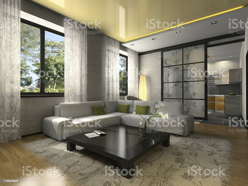 Interior of the stylish flat royalty-free stock photo