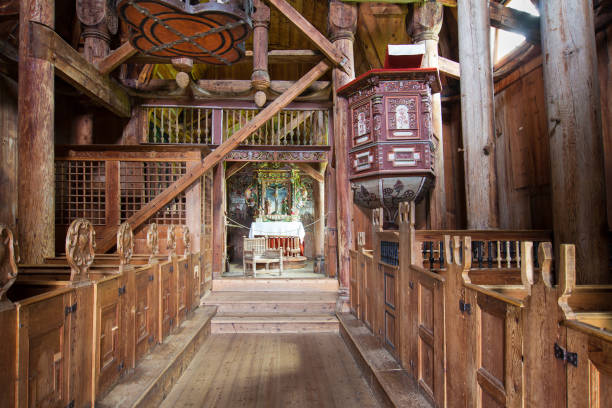 Interior of the Urnes Stave Church stock photo