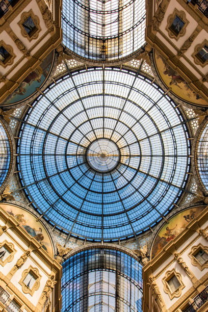interior of the vittorio emanuele ii gallery on square duomo, in the city center of milan, italy - cupola stock pictures, royalty-free photos & images