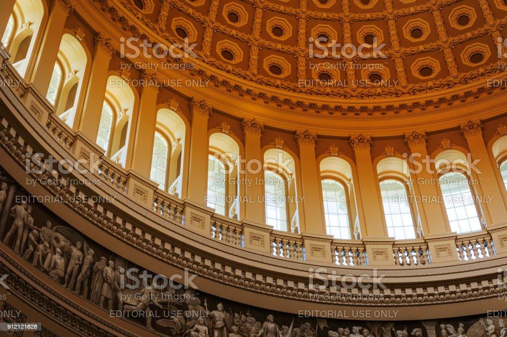 interior of the Washington capitol hill dome Rotunda stock photo