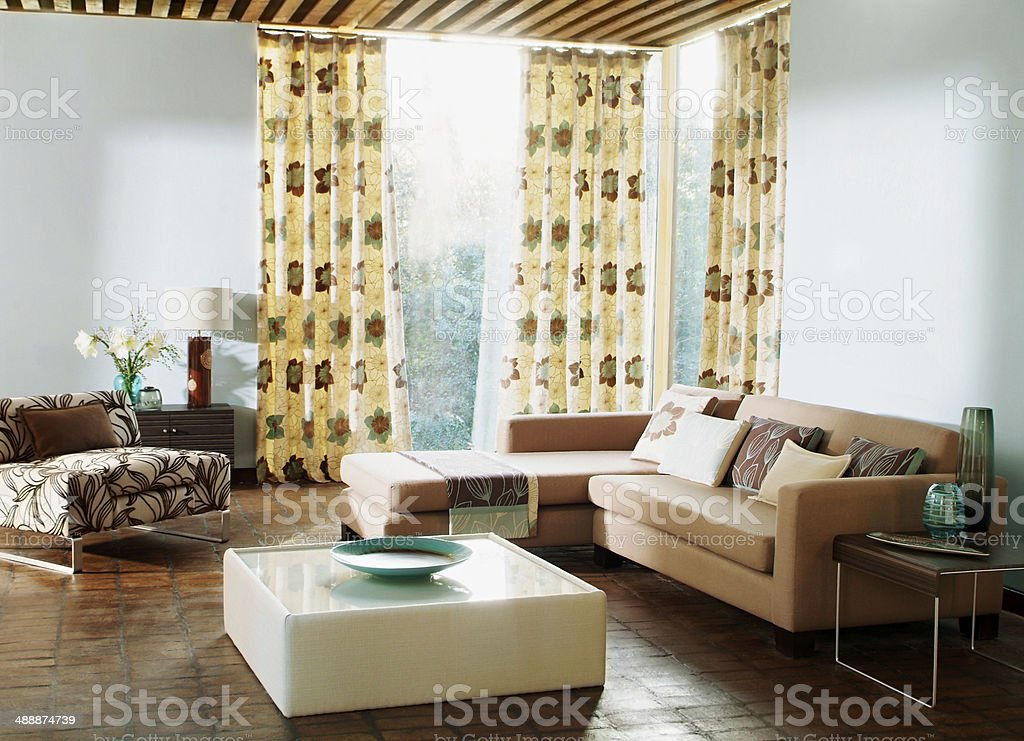 Interior of three seater sofa in living room stock photo