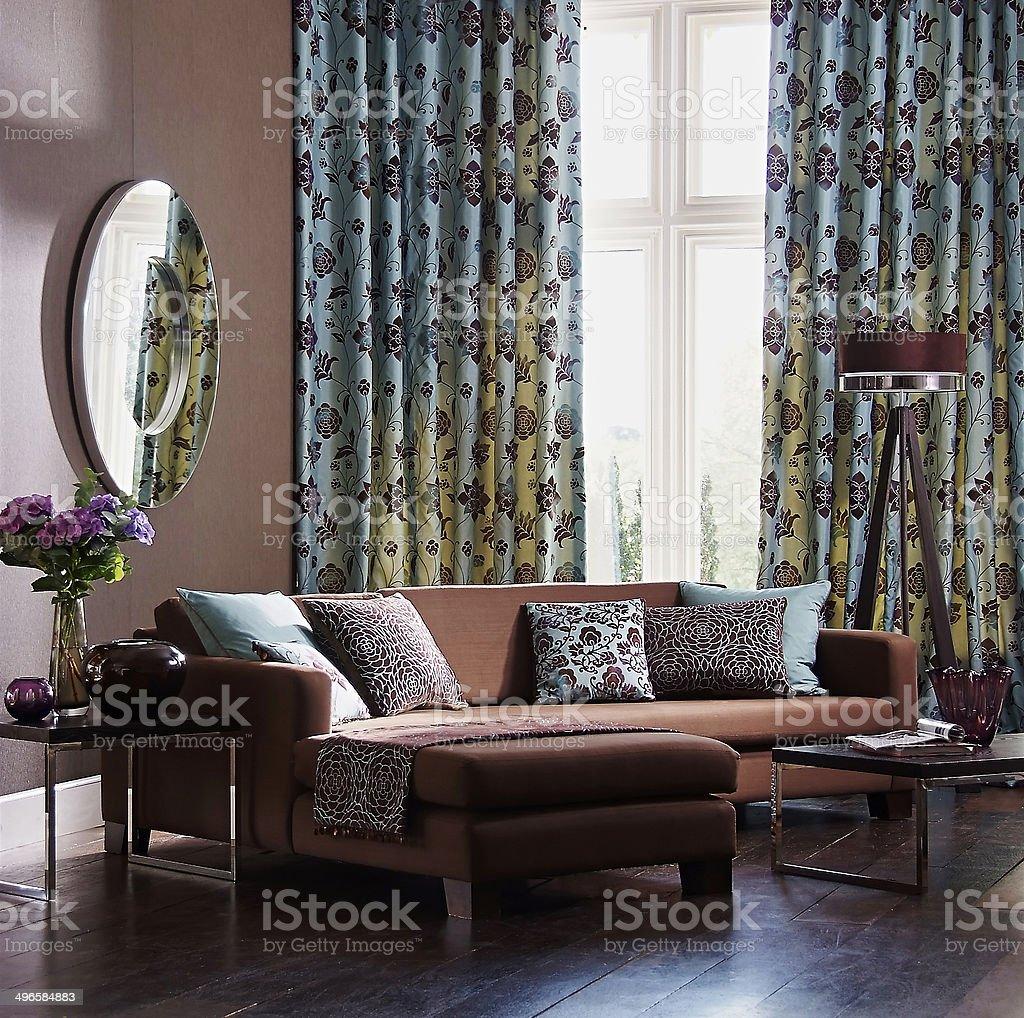 Interior of three seater sofa in living room stock photo