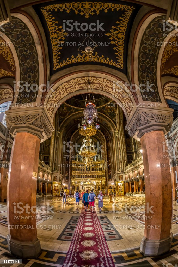 Interior of Timisoara Orthodox Cathedral stock photo