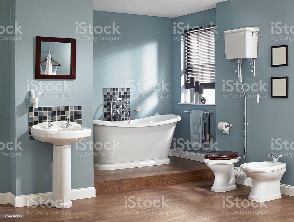 Interior of traditional bathroom stock photo