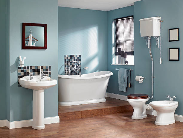 Interior of traditional bathroom stock photo