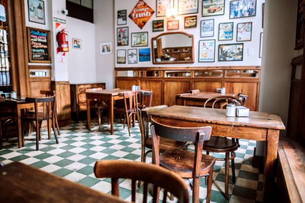 Interior of traditional coffee shop in Buenos Aires stock photo