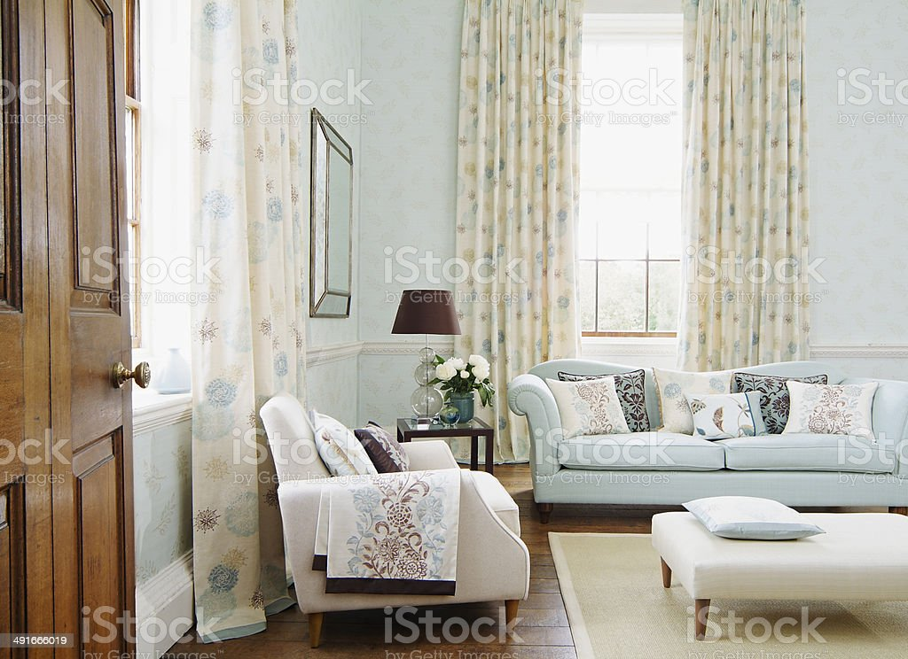 Interior of traditional living room stock photo